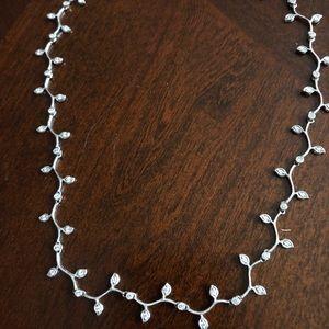 Platinum Diamond Ivy Leaf Designer Necklace 17 in